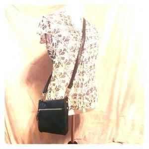 Merona Black Crossbody Purse with silver zipper